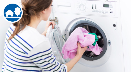 WC, Waschmaschine und Garten