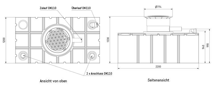 Technische Details AQa.Line 2000L Flachtank