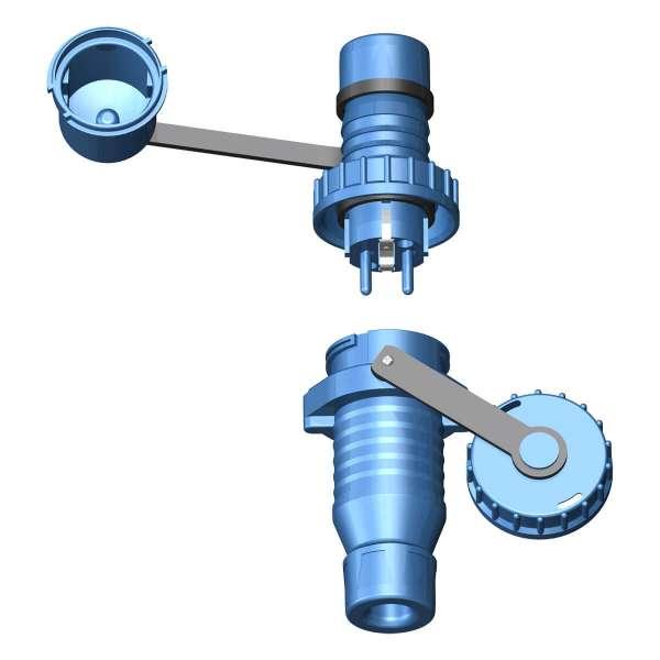 Druckwasserdichter Schuko-Stecker und Schuko-Kupplung IP 68